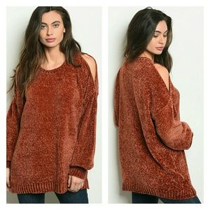 🆕 Chenille cold shoulder sweater